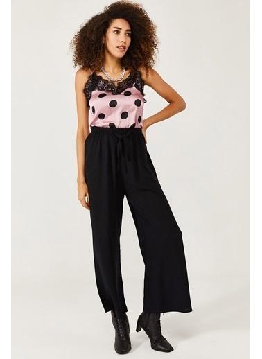 XHAN Beyaz & Siyah Beli Lastikli Kemerli Salaş Dokuma Pantolon 1Kxk5-44565-79 Siyah